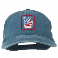 USA Peace Hand Embroidered Washed Cap - Navy