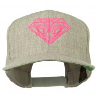 Pink Diamond Outline Embroidered Snapback Cap - Heather