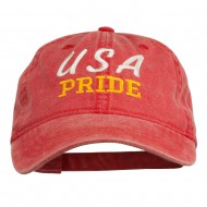 USA Pride Embroidered Washed Cap - Red