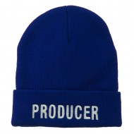 Producer Embroidered Long Beanie - Royal