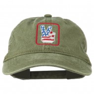 USA Peace Hand Embroidered Washed Cap - Olive Green
