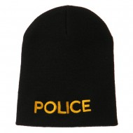 Police Embroidered Short Beanie - Black