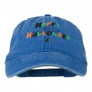 Happy Halloween Spider Webs Embroidered Washed Dyed Cap - Royal