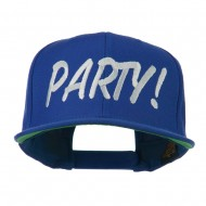 Flat Bill Party Embroidered Cap - Royal