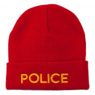 Police Embroidered Long Cuff Beanie - Red
