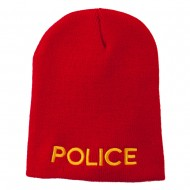 Police Embroidered Short Beanie - Red