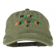 Happy Halloween Spider Webs Embroidered Washed Dyed Cap - Olive Green