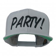Flat Bill Party Embroidered Cap - Silver