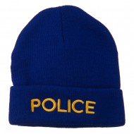 Police Embroidered Long Cuff Beanie - Royal
