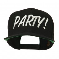 Flat Bill Party Embroidered Cap - Black
