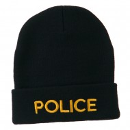 Police Embroidered Long Cuff Beanie - Navy