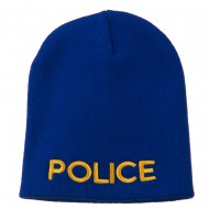 Police Embroidered Short Beanie - Royal
