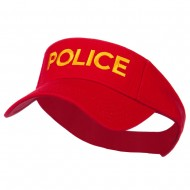 Police Embroidered Superior Garment Washed Visor - Red