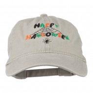 Happy Halloween Spider Webs Embroidered Washed Dyed Cap - Stone