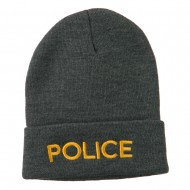 Police Embroidered Long Cuff Beanie - Grey