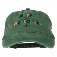 Happy Halloween Spider Webs Embroidered Washed Dyed Cap - Dark Green