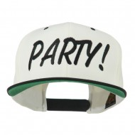 Flat Bill Party Embroidered Cap - Natural Black