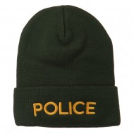 Police Embroidered Long Cuff Beanie - Olive