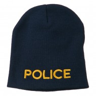 Police Embroidered Short Beanie - Navy