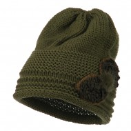 Decoration Feather Pom Rolled Beanie - Olive