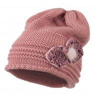Decoration Feather Pom Rolled Beanie - Rose