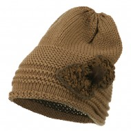 Decoration Feather Pom Rolled Beanie - Taupe