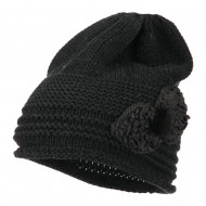 Decoration Feather Pom Rolled Beanie - Charcoal