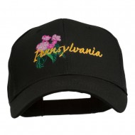 USA State Pennsylvania Flowers Embroidered Cotton Cap - Black