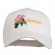USA State Pennsylvania Flowers Embroidered Cotton Cap - White