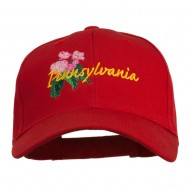 USA State Pennsylvania Flowers Embroidered Cotton Cap - Red