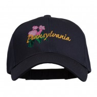USA State Pennsylvania Flowers Embroidered Cotton Cap - Navy
