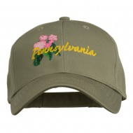 USA State Pennsylvania Flowers Embroidered Cotton Cap - Olive