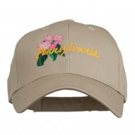 USA State Pennsylvania Flowers Embroidered Cotton Cap - Khaki