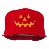 Halloween Pumpkin Face Embroidered Snapback Cap - Red