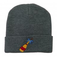 New Year Champagne Bottle Embroidered Beanie - Grey