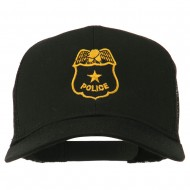 Police Badge Embroidered Mesh Cap - Black