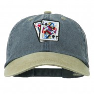 Gaming Pinochle Embroidered Washed Cap - Navy Khaki