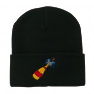 New Year Champagne Bottle Embroidered Beanie - Black