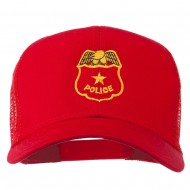 Police Badge Embroidered Mesh Cap - Red