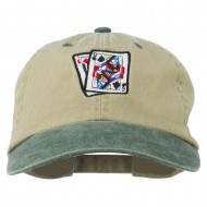 Gaming Pinochle Embroidered Washed Cap - Khaki Green