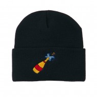 New Year Champagne Bottle Embroidered Beanie - Navy
