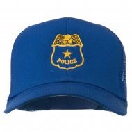Police Badge Embroidered Mesh Cap - Royal
