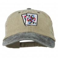 Gaming Pinochle Embroidered Washed Cap - Khaki Black