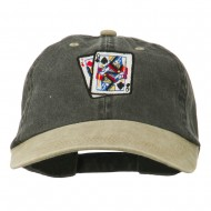 Gaming Pinochle Embroidered Washed Cap - Black Khaki