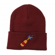 New Year Champagne Bottle Embroidered Beanie - Maroon