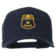Police Badge Embroidered Mesh Cap - Navy