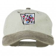 Gaming Pinochle Embroidered Washed Cap - Beige Brown
