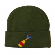 New Year Champagne Bottle Embroidered Beanie - Olive