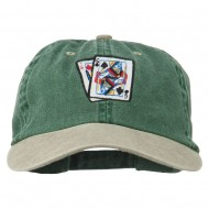 Gaming Pinochle Embroidered Washed Cap - Spruce Khaki