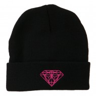 Hot Pink Diamond Embroidered Long Cuff Beanie - Black